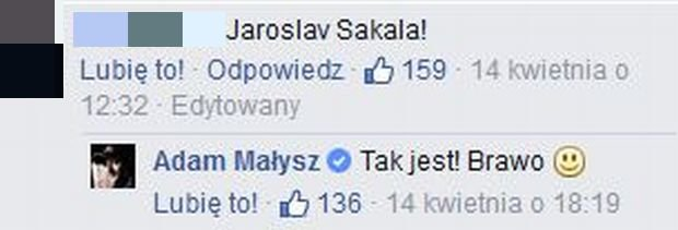 Komentarz na profilu Adama Małysza