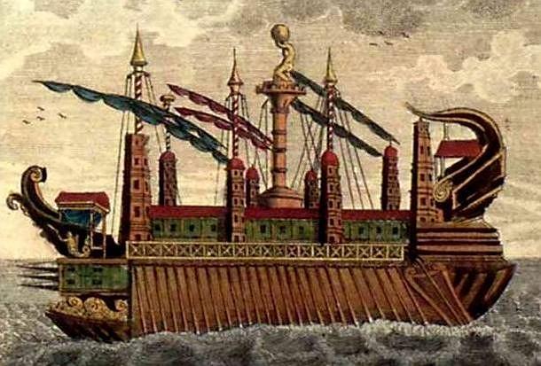 Syrakuzja uznawana jest za największy okręt starożytności. Choć służyła na wojnie, to pełniła też funkcje handlowe. Projektantem Syrakuzji miał być sam Archimedes. Jednostka powstała w 260 roku p.n.e., miała długość 150 metrów i trzy piętra wysokości. Do obrony służyło jej osiem wież z katapultami.   Syrakuzja posiadała dwanaście kotwic. Na pokład zabierała ponoć ponad dwustu żołnierzy i maszyny oblężnicze. Bardziej znamienici goście mieli do dyspozycji nawet wannę i łazienkę wyłożoną jaspisem.