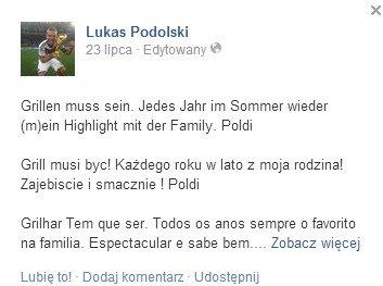 Zajebisty grill u Lukasa Podolskiego