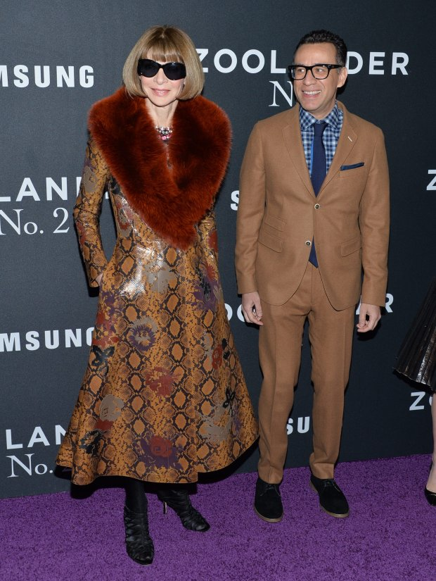 Anna Wintour, left, and Fred Armisen attend the world premiere of