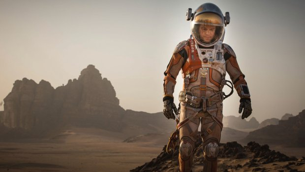This photo provided by courtesy of the Toronto International Film Festival and Twentieth Century Fox shows Matt Damon as Mark Watney a scene from the film,