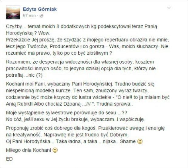 Edyta Górniak o krytyce Horodyńskiej