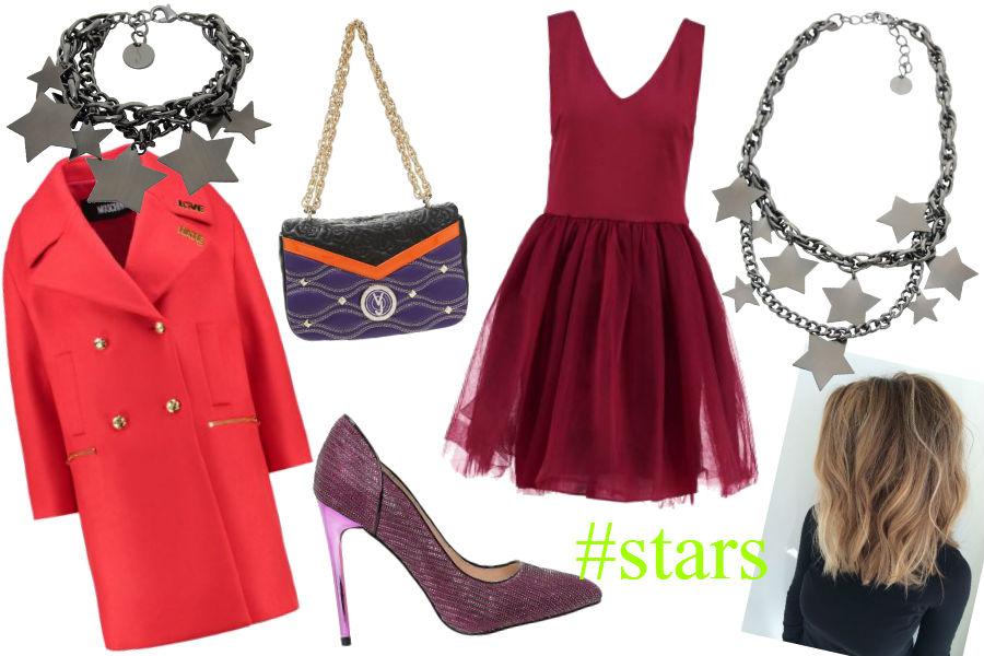 fot. materiały partnera, czerwony płaszcz, bordowa sukienka, srebrna biżuteria