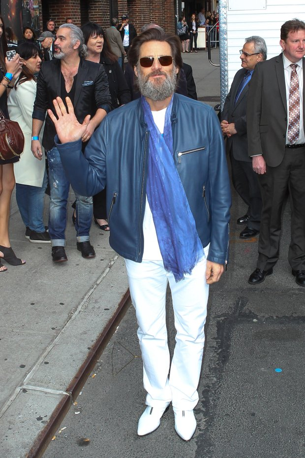 New York, NY - Jim Carrey at The Ed Sullivan Theater for the last taping of 'Late Show with David Letterman' in New York.  AKM-GSI       May  20, 2015   To License These Photos, Please Contact :  Steve Ginsburg (310) 505-8447 (323) 423-9397 steve@akmgsi.com sales@akmgsi.com  or  Maria Buda (917) 242-1505 mbuda@akmgsi.com ginsburgspalyinc@gmail.com
