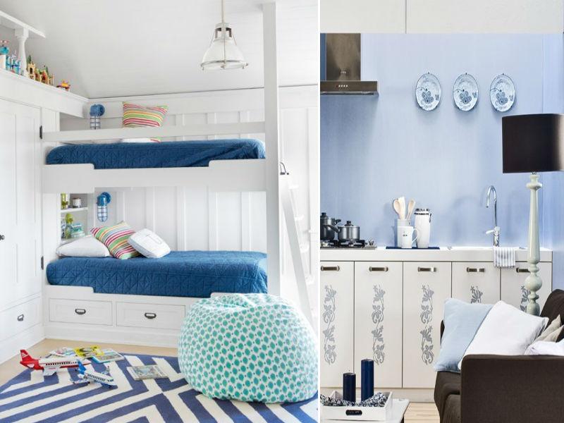 Niebieskie dodatki do mieszkania