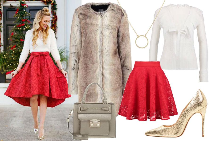 fot. materiały partnera, czerwona spódnica, biały sweter