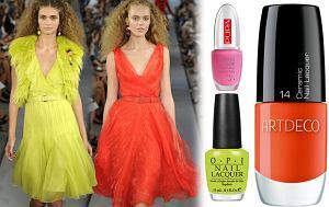 lakier do paznokci w nasyconym kolorze, fluo, kolory neonowe, trendy, manicure, wiosna 2012, lato 2012