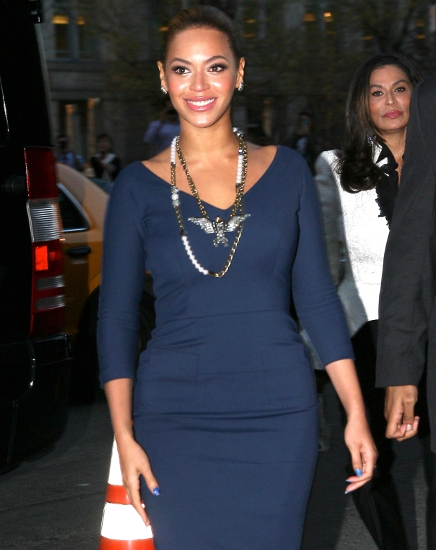 Beyonce Knowles waved to fans outside an event featuring Michelle Obama, in Greenwich Village on Monday, March 19, 2012 X17online.com *** Local Caption ***  Beyonce Knowles