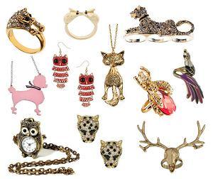 Biżuteria w kształcie zwierząt, materiały prasowe, kolaż Groszki.pl