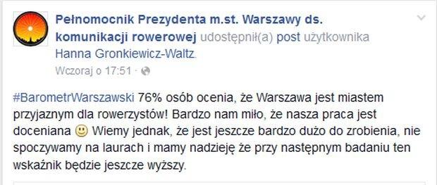 Czwartkowy wpis Łukasza Puchalskiego, fot. facebook pełnomocnika ds rowerowych
