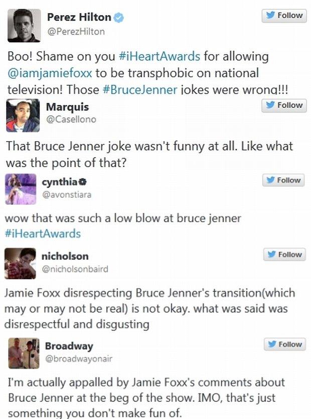 Reakcje na dowcip Jamiego Foxxa