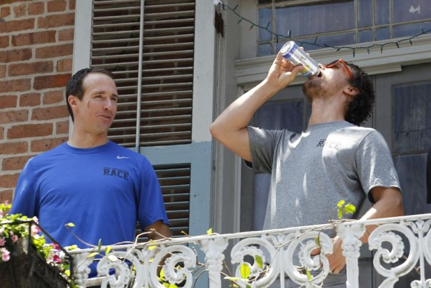 119070, New Orleans Saints Quarterback Drew Brees and pregnant wife Brittany are accompanied by Matthew McConaughey and Camilla Alves for an Amazing Race Charity Event in New Orleans. The event is put together by The Brees Dream Foundation and Matthew's Just Keep Livin Foundation. The organizations have partnered together to provide after school fitness and wellness programs in the New Orleans Area. New Orleans, Louisiana - Saturday May 17, 2014. Photograph: ? PacificCoastNews. Los Angeles Office: +1 310.822.0419 London Office: +44 208.090.4079 sales@pacificcoastnews.com FEE MUST BE AGREED PRIOR TO USAGE