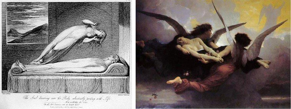 Dusza opuszczająca ciało (rys. Luigi Schiavonetti) i niesiona do nieba (obraz pędzla William-Adolphe Bouguereau)
