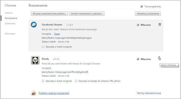 Ekran zainstalowanych rozszerzeń w Google Chrome