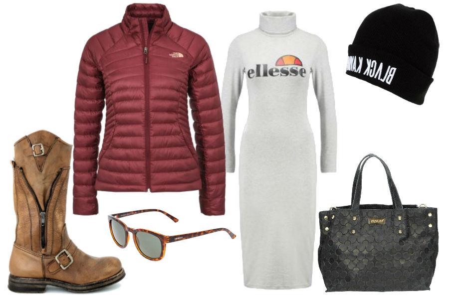 burgundowa kurtka, szara sukienka, czarna czapka, szara torebka