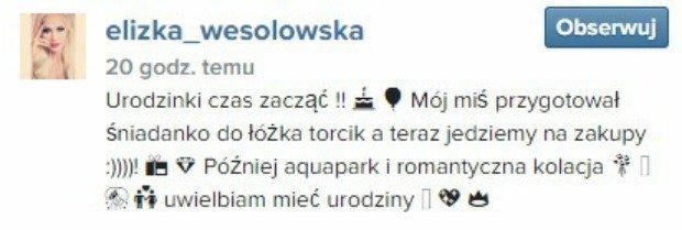 Post z Instagrama Elizy Wesołowskiej