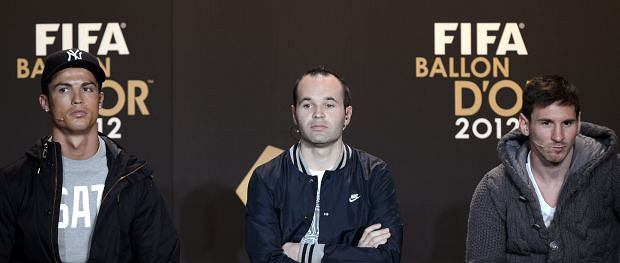 From left: Portugal's Christiano Ronaldo, Spain's Andres Iniesta and Argentina's Lionel Messi, the nominees for the FIFA Men's World Soccer  Player of the Year Award, attend a press conference during the FIFA Ballon d'Or Gala 2013 held at the Kongresshaus in Zurich, Switzerland, on Monday, Jan.  7, 2013. (AP Photo/Keystone/Walter Bieri)