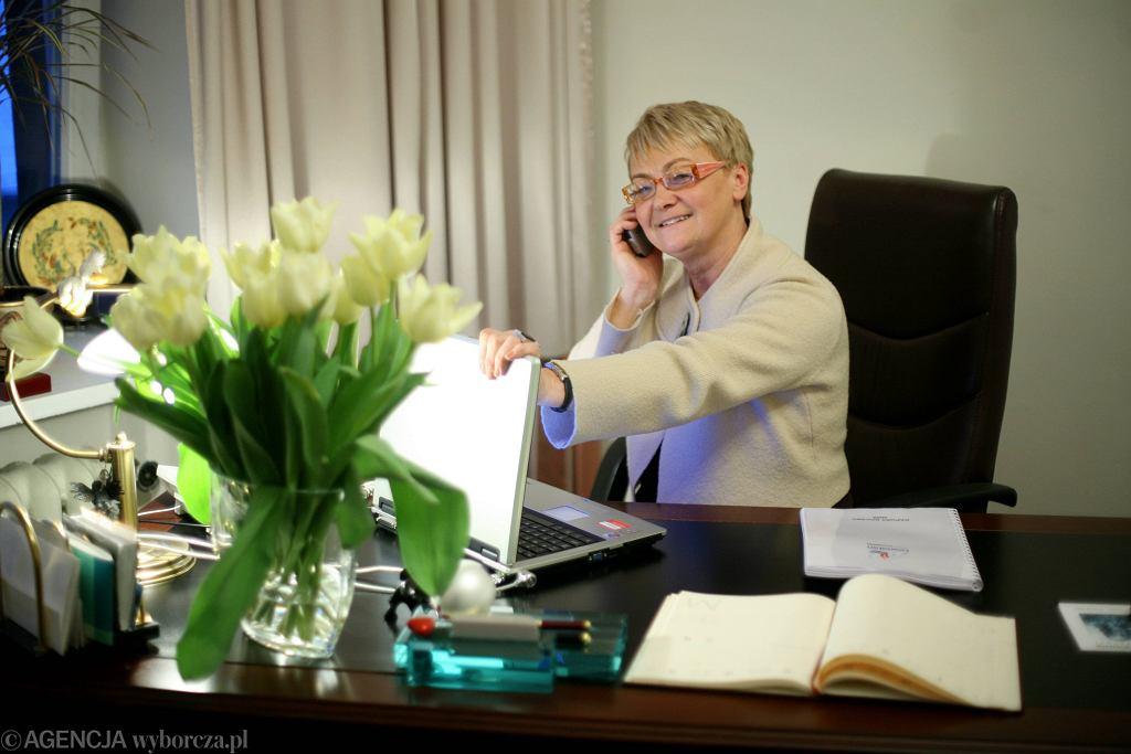 Henryka Bochniarz w biurze Lewiatana (fot. Alina Gajdamowicz / Agencja Gazeta)