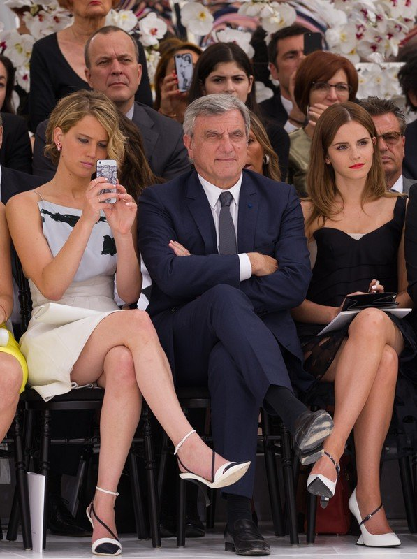 Jennifer Lawrence, Emma Watson and Sidney Toledano attend Christian Dior show as part of Paris Fashion Week - Haute Couture Fall/Winter 2014-2015 at on July 7, 2014 in Paris, France Photo Thierry Orban/abacapress.com