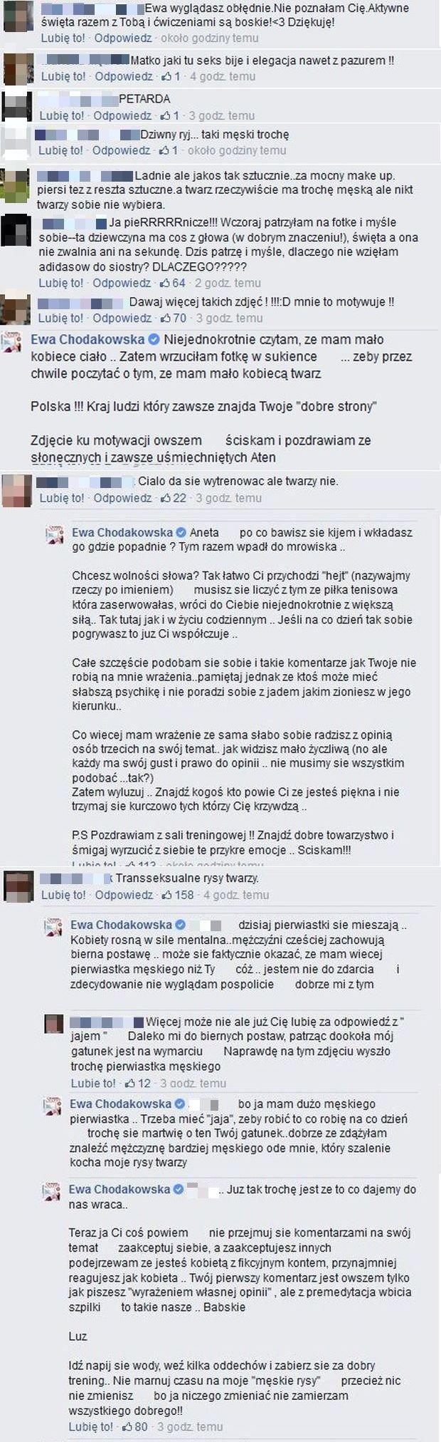 Komentarze na profilu Ewy Chodakowskiej