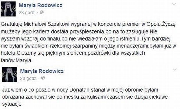 Komentarz na profilu Maryli Rodowicz
