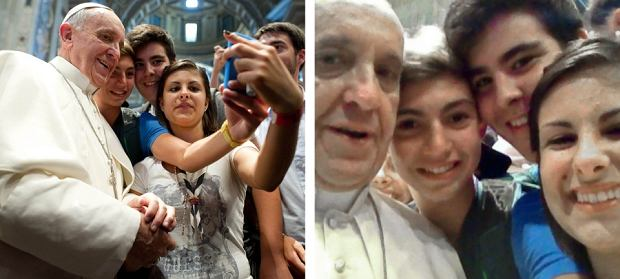 In this combo picture of a Aug. 28, 2013 file photo provided Thursday, Aug. 29, 2013 by the Vatican newspaper L'Osservatore Romano, left, and a photo released Friday, Aug. 30, 2013 by Mrs. Deborah Arcelli and taken on a mobile phone by her son Riccardo, second from left, on Aug. 28, 2013, Pope Francis has his picture taken inside St. Peter's Basilica with youths from the Italian Diocese of Piacenza and Bobbio who came to Rome for a pilgrimage at the Vatican. (AP Photo/L'Osservatore Romano, ho, file/Riccardo Aguiari)