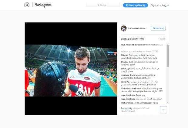Irańscy kibice obrażają Michała Kubiaka