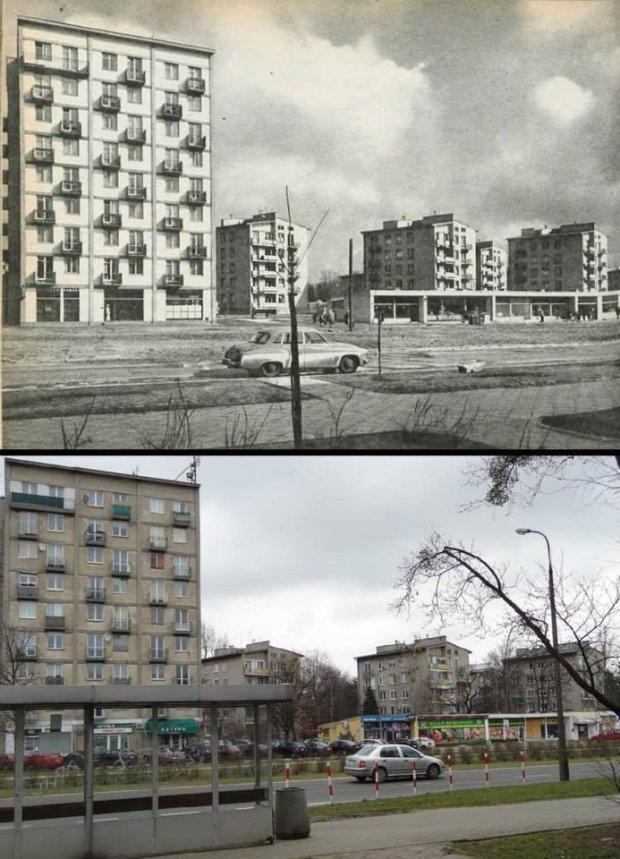 Ulica Kasprowicza, róg Podczaszyńskiego, 1962 i 2014