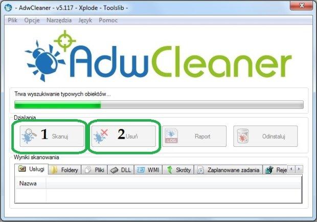 AdwCleaner - kadr aplikacji