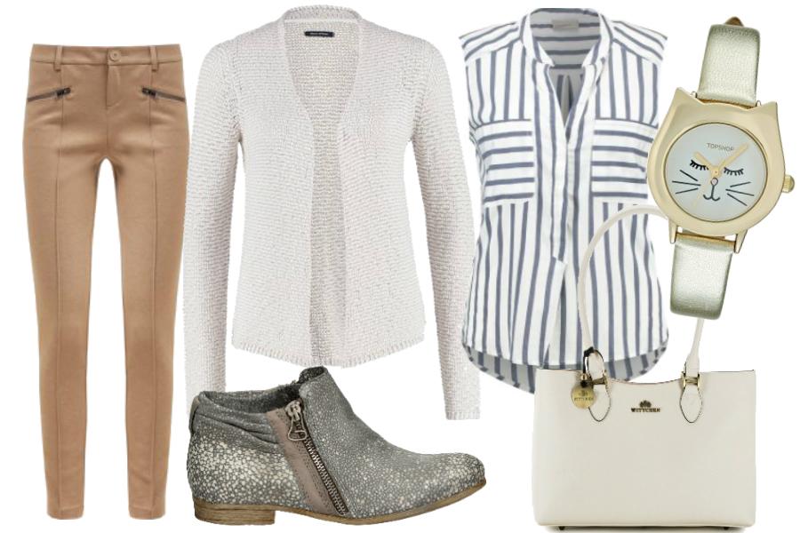Beżowe spodnie i biel