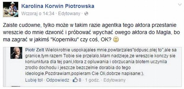 Karolina Korwin Piotrowska odpowiada Piotrowi Zeltowi