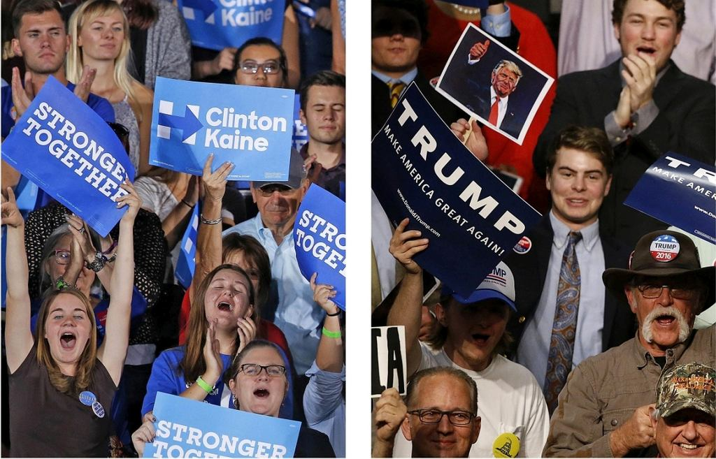 Ameryka podzielona. Z lewej wyborcy Clinton, z prawej - Trumpa (fot. Ross D. Franklin, Gerald Herbert/AP)
