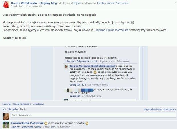 Post Doroty Wróblewskiej na Facebooku