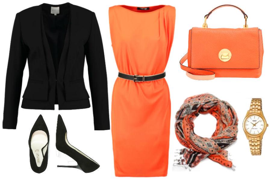 Kolaż Avanti24 / Stylizacja z pomarańczową sukienką / Materiały partnera