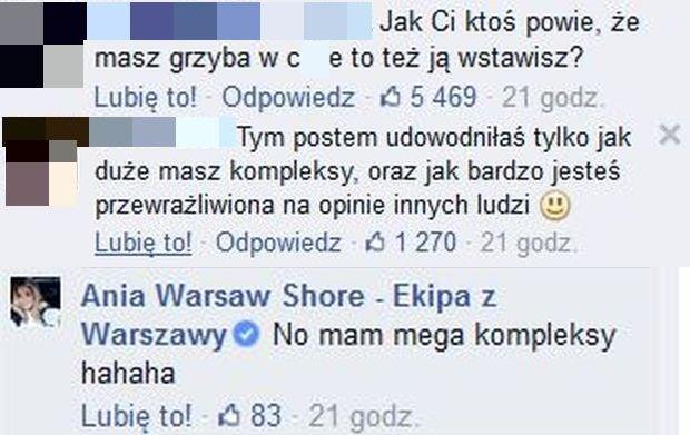 Komentarz na profilu: Ania Warsaw Shore