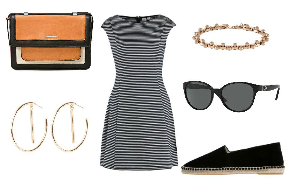 Stylizacja z biało-czarną sukienką i espadrylami
