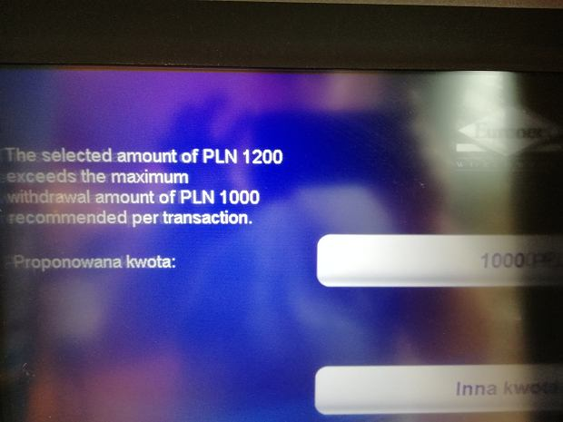 Euronet recommends payments up to PLN 1,000  You can not