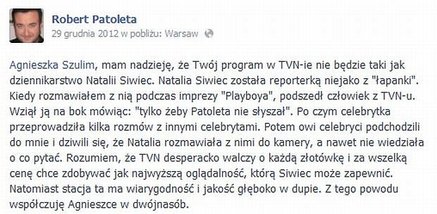 Robert Patoleta o Natalii Siwiec