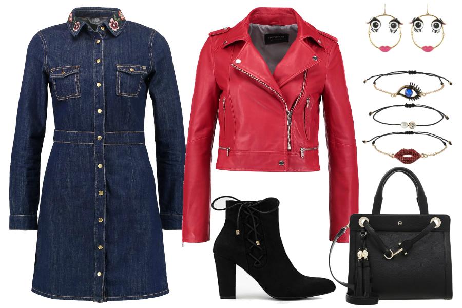 Sukienka jeansowa i kurtka / kolaż: mat. partnera
