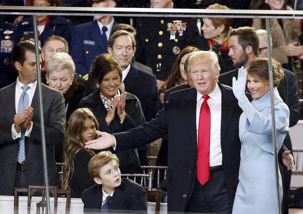 Prezydent USA Donald Trump z żoną Melanią i synem Barronem (fot. Lucas Jackson/Reuters)