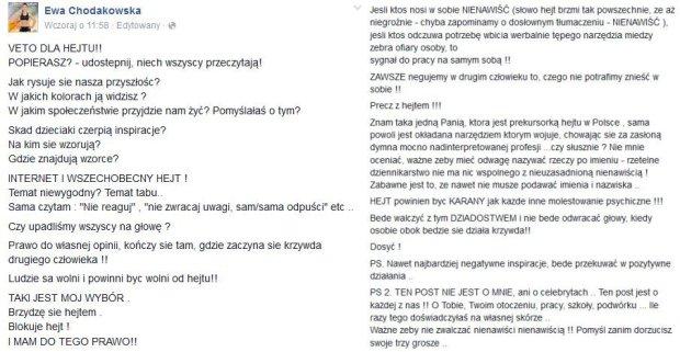 Ewa Chodakowska o hejcie