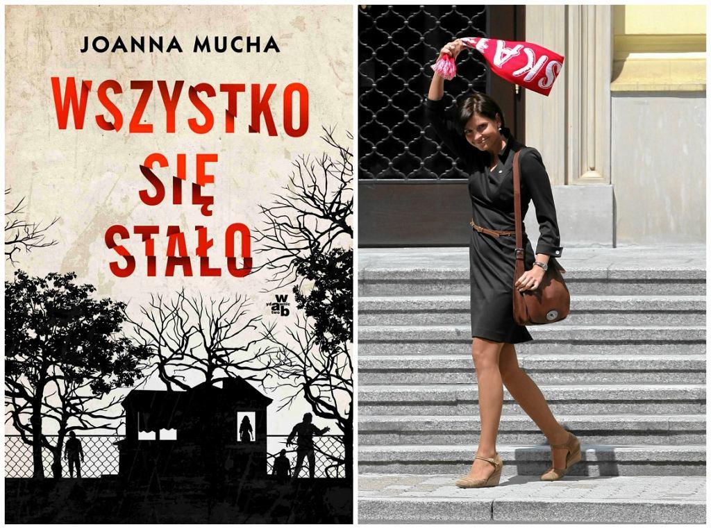 Okładka książki Joanny Muchy i ona sama z szalikiem polskiej reprezentacji (fot. mat. wyd. WAB/Sławomir Kamiński/AG)
