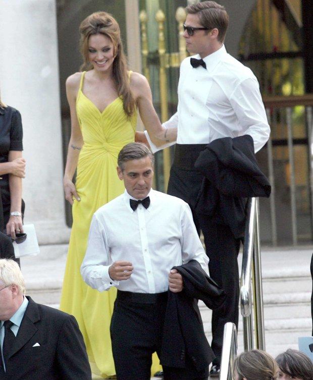 Angelina Jolie, Brad Pitt i George Clooney w 2007 roku w Cannes