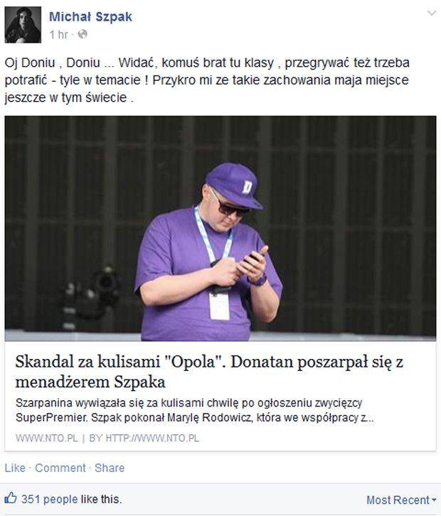 Michał Szpak komentuje skandal w Opolu