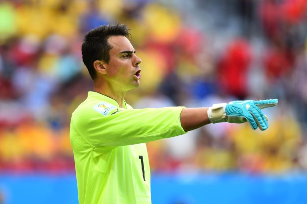 BRASILIA, BRAZIL - JUNE 15:  Diego Benaglio of Switzerland gestures during the 2014 FIFA World Cup Brazil Group E match between Switzerland and Ecuador at Estadio Nacional on June 15, 2014 in Brasilia, Brazil.  (Photo by Stu Forster/Getty Images)