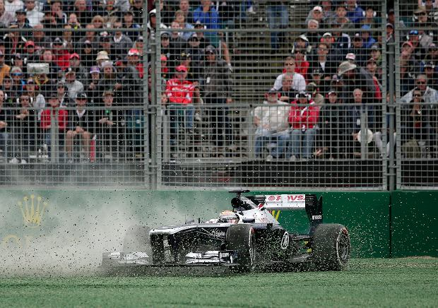 Williams driver Pastor Maldonado of Venezuela slides into the gravel on turn two during the Australian Formula One Grand Prix at Albert Park in Melbourne, Australia, Sunday, March 17, 2013. (AP Photo/Rob Griffith)
