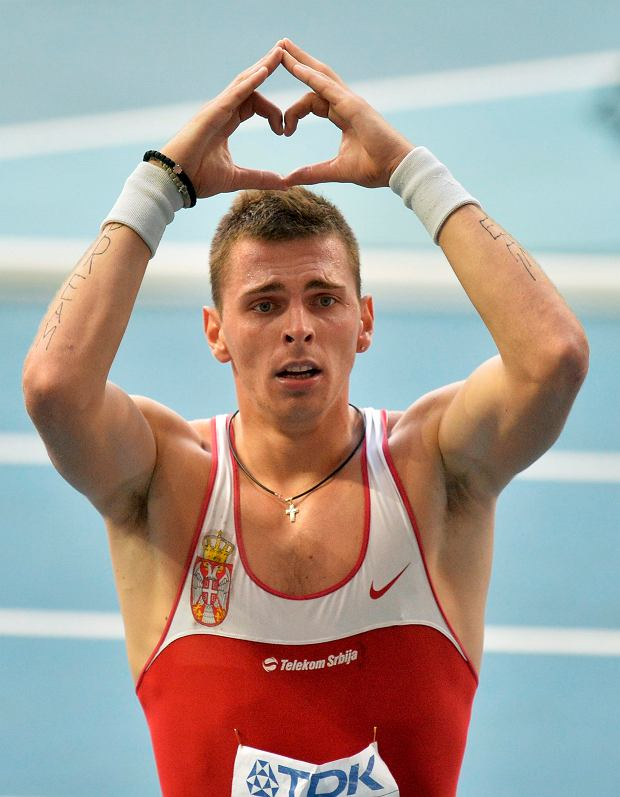 Serbia's Emir Bekric gestures after a men's 400-meter hurdles semifinal at the World Athletics Championships in the Luzhniki stadium in Moscow, Russia, Tuesday, Aug. 13, 2013. (AP Photo/Martin Meissner)