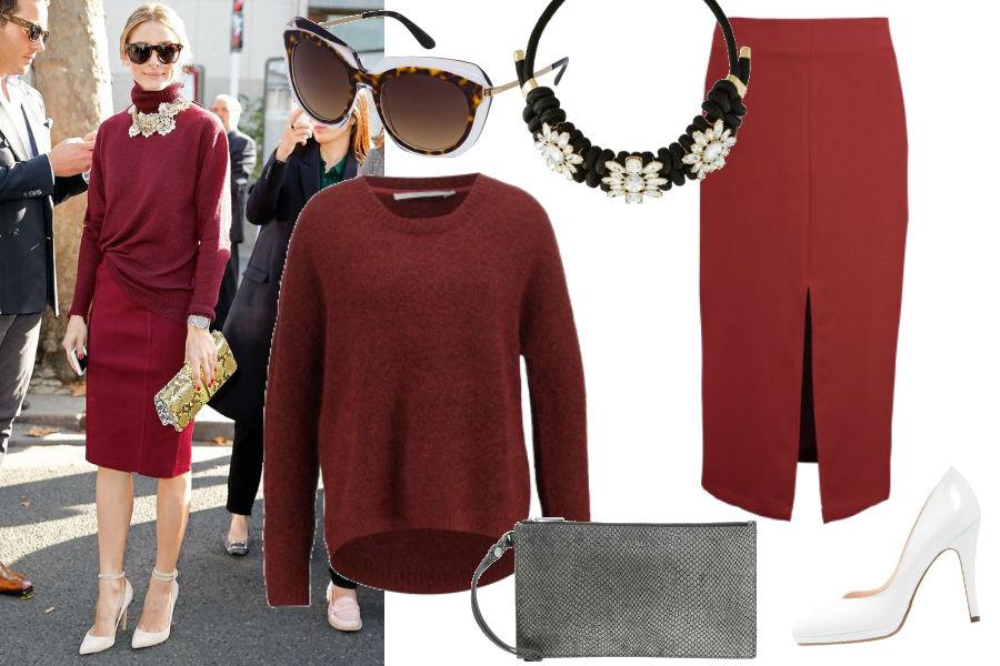 popsugar.cm, Olivia Palermo, burgundowy sweter, czerwona spódnica