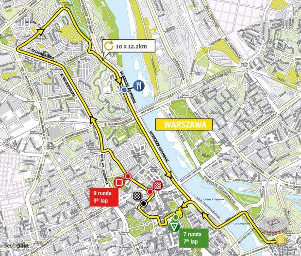 Mapa trasy tegorocznego 72. Tour de Pologne, odcinek w Warszawie
