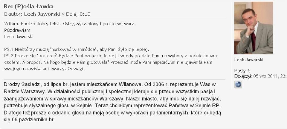 Świeże Wilanów: Kandydat nawiedza forum. 'To jest stalking' SG37